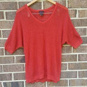 Torrid Red Knit Short Sleeve Sheer Christmas Top